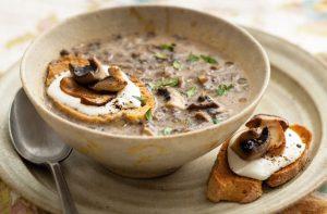 Un primer plano de una sopa de champiñones silvestres con un lado de pan cursi de champiñones. Las setas silvestres son verduras de temporada en octubre.